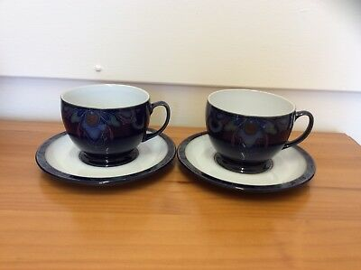 Denby Baroque Pair Of Breakfast Large Tea Cups And Saucers