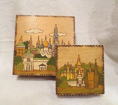 Russian Pyrography Carved Wood & Handpainted Trinket Boxes, Set of 2