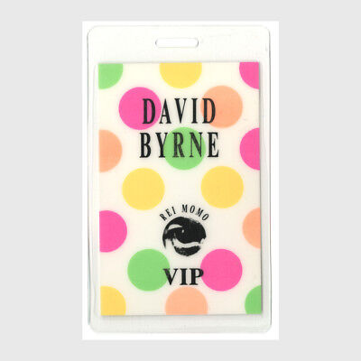 David Byrne authentic 1989 Laminated Backstage Pass Rei Momo Tour Talking Heads