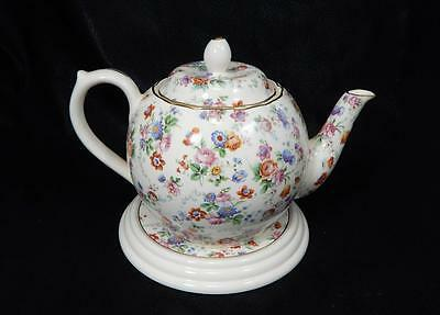 Dorset-Cheery Chintz Erphila Porcelain Teapot w/Lid & Tea Tile GERMANY EUC