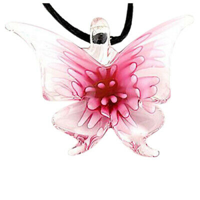 Handmade Lifelike Butterfly lampwork art glass beaded pendant necklace N8N8