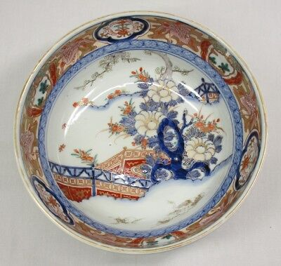 H512: Japanese OLD IMARI colored porcelain bowl with beautiful painting