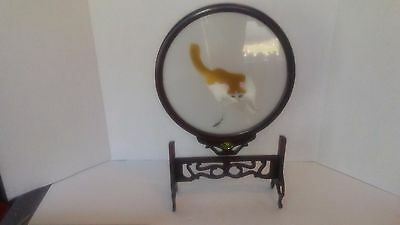 Asian Embroidery Cat on Silk in Wood Carved Frame