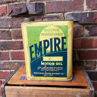 Rare Early EMPIRE Motor Oil 2 Gallon Can by Wolverine Empire Refining Co. NY