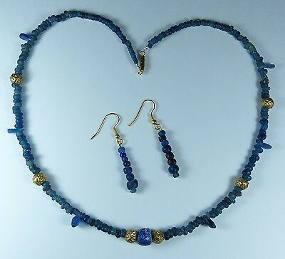 Stunning Ancient Roman Gold & Glass Bead Necklace 2Nd Century Ad