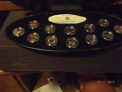 2000 Canada 25 Cents Set Of 12 Millenium Sterling Silver Coins-Uncirulated