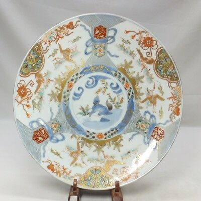 H476: Japanese old IMARI porcelain big plate with beautiful color and painting