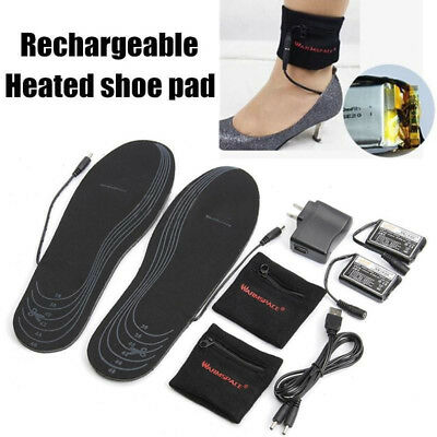 USB Electric Battery Heated Insoles Foot Warmer Shoes Pad Foot Pad Winter Warm