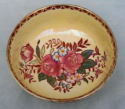 "Vintage Maling Rosalind Yellow Lustre Ware Bowl with  Pink Roses 5"" diameter"