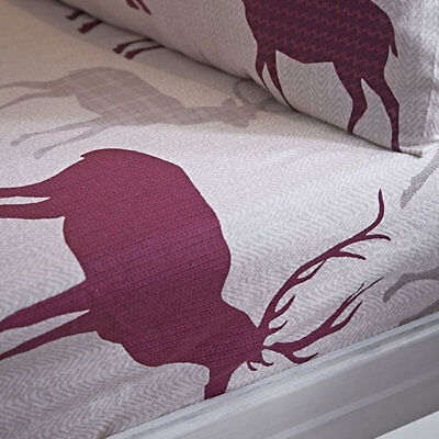 Mulberry Stag Double Fitted Sheet - 100% Brushed Cotton