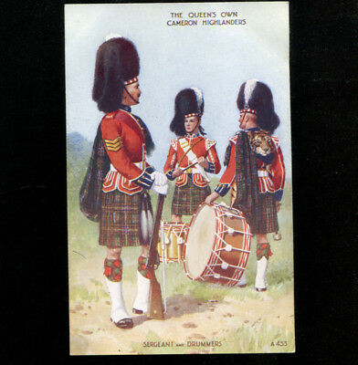 Queens Own Cameron Highlanders Valentine Military Art Postcard