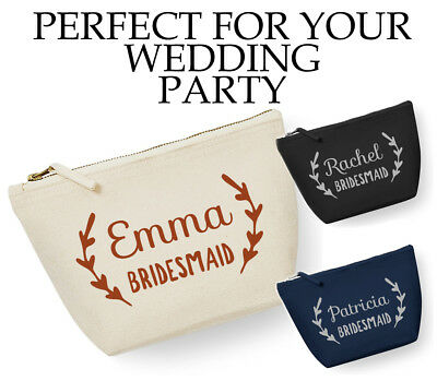 Personalised NAME Bridesmaid Make Up Bag Cosmetic Wedding Gift Custom OLI WM540