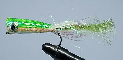 2QTY PEARLY POPPER GREEN YELLOW Fly Fishing Flies 2/0