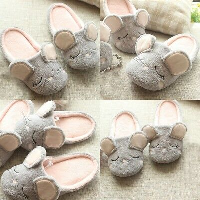 Cute Mouse Women's Home Slippers Girls Ladies Soft Bottom Indoor Bedroom Shoes