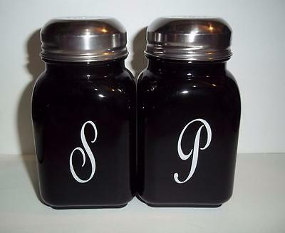 Mosser Glass Black Retro Vintage Style Monogrammed Salt & Pepper Shakers Set