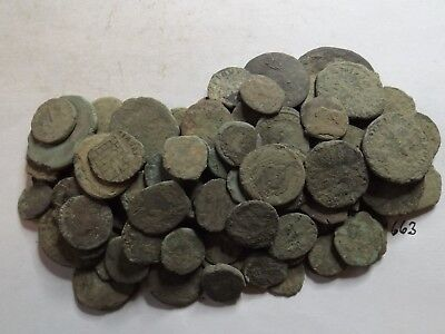 Lot of 104 Low Quality Uncleaned Ancient Roman Coins; 176 Grams