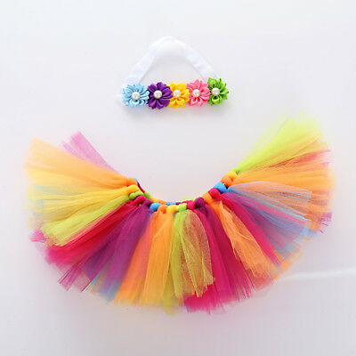 Colorful Infant Kids Baby Girls Rainbow Princess Party Dancewear Skirt Dresses