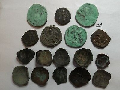 Lot of 17 Quality Ancient Byzantine Roman Coins and Trachy Cups; 75 Grams!