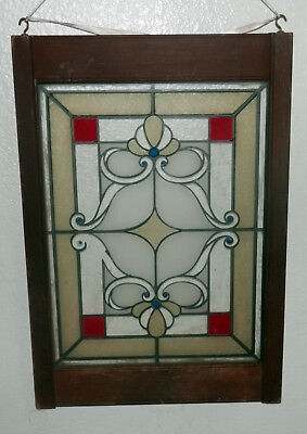"Antique English Leaded Stained Glass Window Wood Frame 21"" x 14.5"""