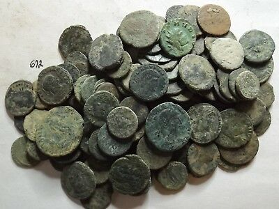 Lot of 100 Lower Quality Uncleaned Ancient Late Roman Coins; 203 Grams!
