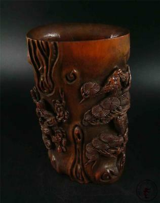 Fine Old Chinese Bamboo Carved Brush Pot Statue PINE, BAMBOO & PLUM BLOSSOM