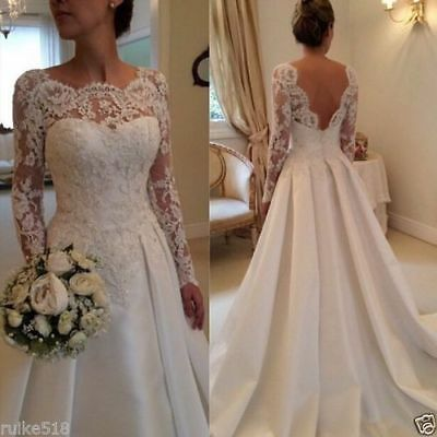 New Lace ivory Long sleeve Wedding dress Bridal Gown size 14