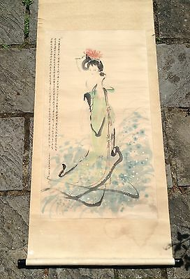 Wonderful Old Vintage Hand Painted China Chinese Scroll Painting Of A Female