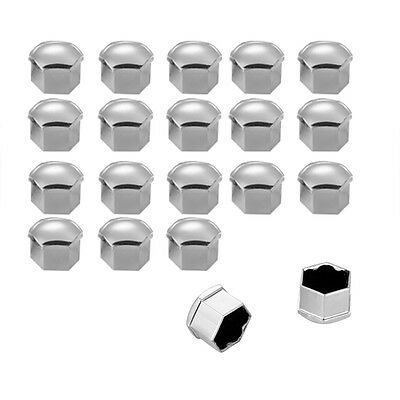 20pcs Car Wheel Lug Nut Bolt Cover Screw Antirust 17mm Silver Nut Bolt Cap