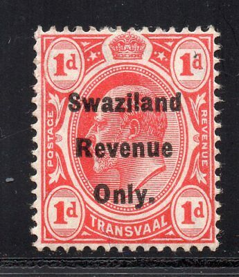 1907 Swaziland Bft:50 1d. Red. Very Fine Mint Revenue.