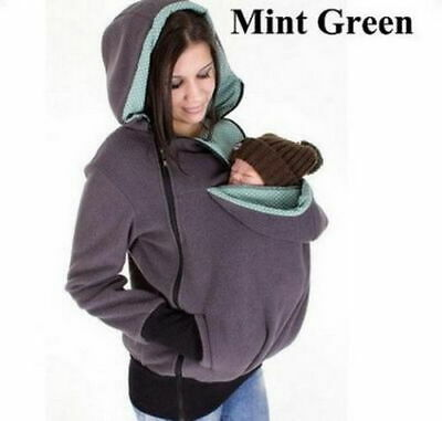 Gray Baby Carrier Baby wearing Jacket Hoodie Jumper Kangaroo Maternity Coats XXL