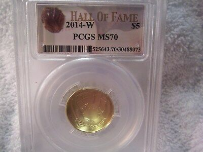 2014-W Hall Of Fame $5.00 Gold Coin Graded by PCGS MS 70