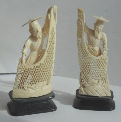 Two Vintage Chinese Carvings of Fishermen with their Nets