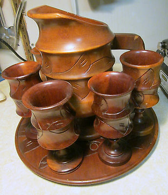 Rare Vintage Carved Wooden Pitcher w/Tray & 5 Goblets