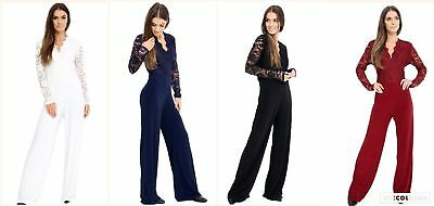 ea2de2424524 New Women s Lace Jumpsuit Long Sleeve playsuit Top Slinky lot Plus size UK16 -24
