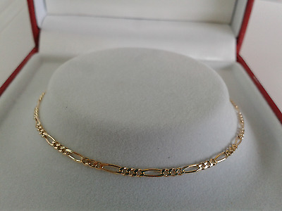 9ct Gold Ladies Solid Link Diamond Cut Figaro Anklet.  Hallmarked. 9.5 inch.