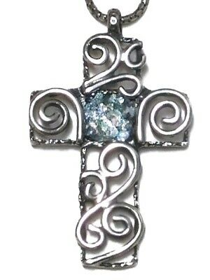 Roman Glass Silver 925 Fragments 200 B.C Cross Necklace Ancient Holy Land Israe