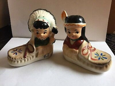 Midcentury INDIAN BOY AND GIRL IN MOCCASINS SALT AND PEPPER SHAKERS SET - JAPAN