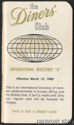 1960 The Diners' Club International Directory Booklet to Use With Credit Card