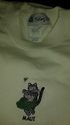 Kliban Cat Tank Top Sz S Hawaiian  Hula Dancer Kitty Vintage 1980's Sweatshirt