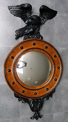 Large Wood Convex Mirror Regency Style:1950