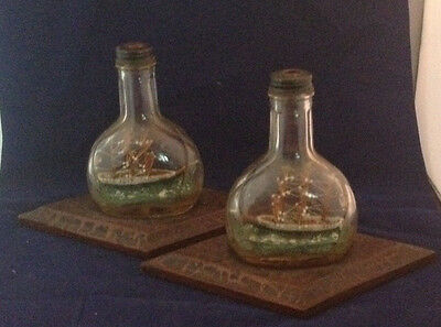 Matching Pair Of Antique Ship In A Bottle Models