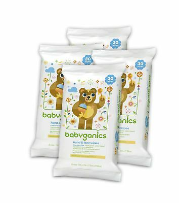 Babyganics Hand and Face Wipes Fragrance Free 30-Count (Pack of 4 120 Total W...