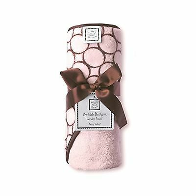 SwaddleDesigns Terry Velour Hooded Towel Brown Mod Circles Pastel Pink