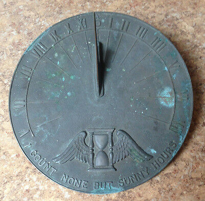 """Vintage 10"""" Brass Sundial """"i Count None But Sunny Days"""" - Nice Patina"""