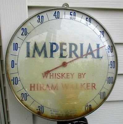 Imperial Whiskey by Hiram Walker Round Pam Like Thermometer w Convex Glass