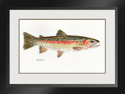 Original Fish Portrait Painting RainbowTrout R M Mortensen Art