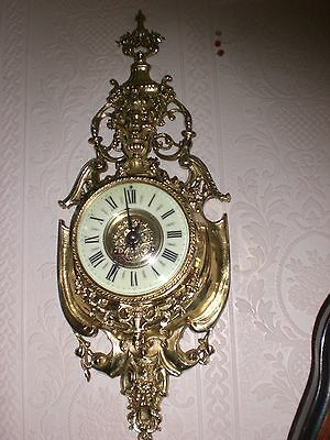 Large Antique French Gilt Cartel Wall Clock C1870