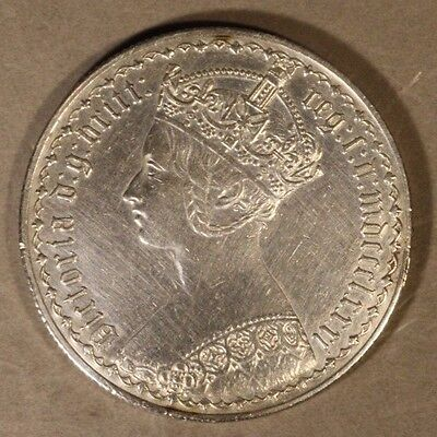 1881 Great Britain Gothic Florin Silver Great Details ! ** FREE U.S. SHIPPING **