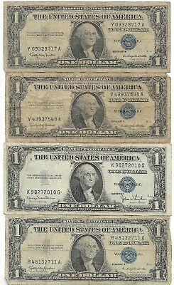 Very Old Vintage Rare US Blue Seal Silver Certificate Dollar Bill Collection Lot