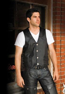 River Road Wyoming Nickel Classic Leather Vest, L